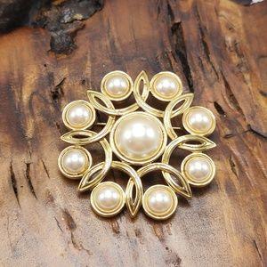 Vintage Monet Pearl brooch statement gold flower